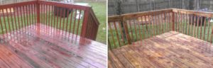 Before and After Deck Cleaning and Sealing in Virginia Beach, Virginia by SoftWash Pros