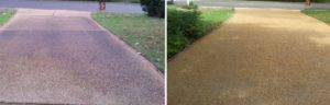 Before and After Driveway Cleaning and Sealing in Virginia Beach, Virginia by SoftWash Pros