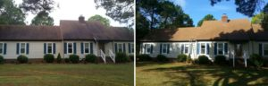 Before and After Roof Cleaning in Virginia Beach, Virginia by SoftWash Pros